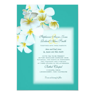 White Hawaiian Flowers Lagoon Blue Wedding Invite