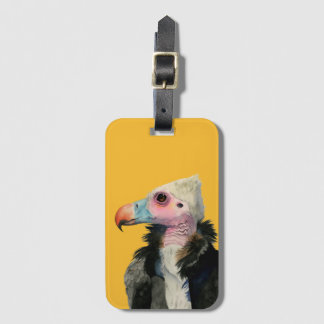 White-Headed Vulture Watercolor Painting Luggage Tag