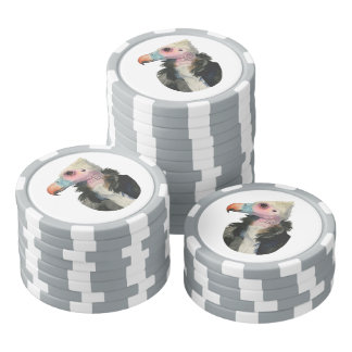 White-Headed Vulture Watercolor Painting Poker Chips