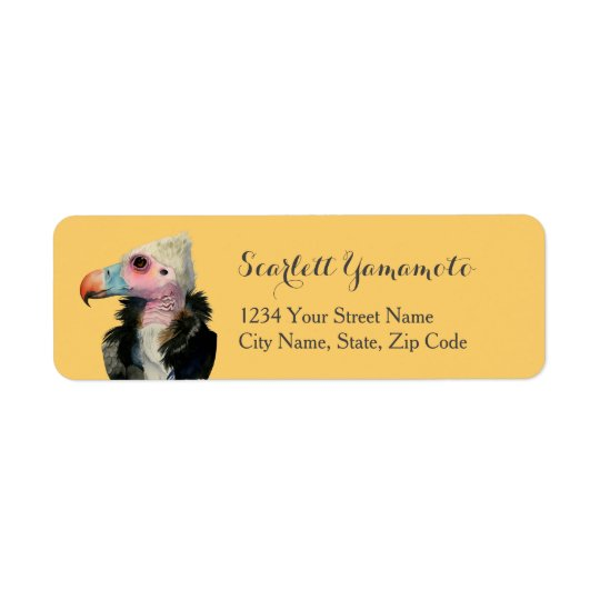 White-Headed Vulture Watercolor Painting Return Address Label