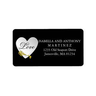 White Heart on Black Wedding Return Address Labels