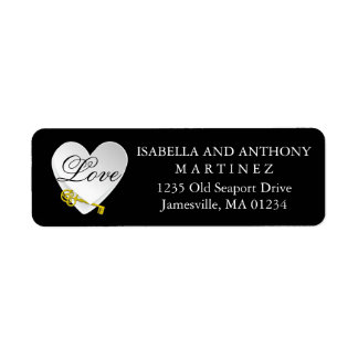 White Heart on Black with Gold Key & Love Wedding