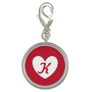 White heart on red with monogram photo charm