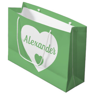 White Heart on Vintage Green Personalized Large Gift Bag