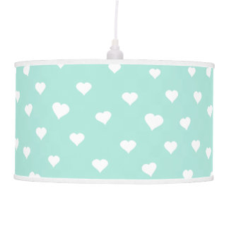 White heart pattern on mint blue pendant lamp