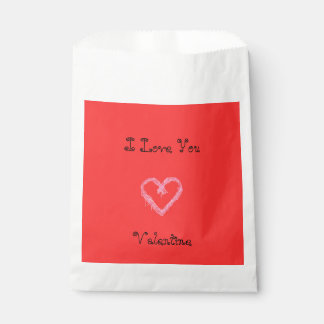 White heart red with background Valentine Favour Bag