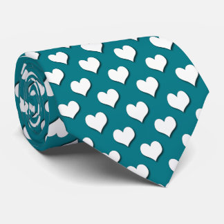 White Heart Repeat On Teal Tie