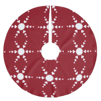 White Heart Snowflakes on Red Christmas Tree Skirt