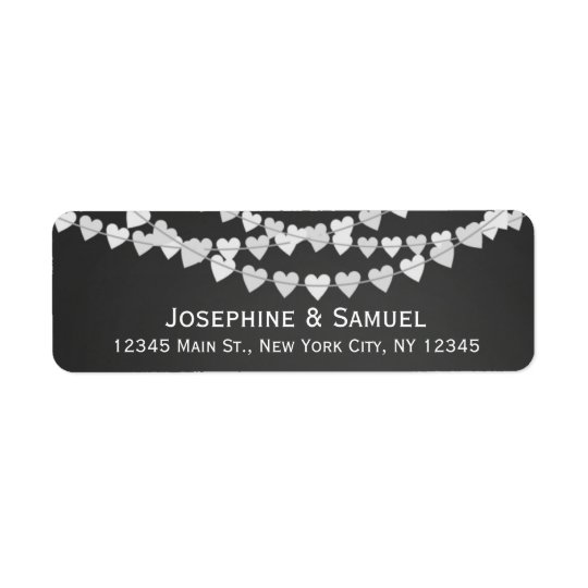 White Heart Strings Chalkboard Wedding Address