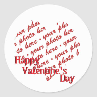 White Heart Valentine's Day Photo Frame Classic Round Sticker