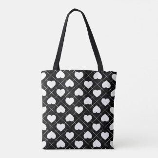 White Hearts - Argyle Pattern Tote Bag