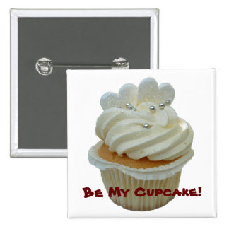 White hearts cupcake magnet pins