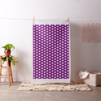White Hearts on Bright Purple Fabric