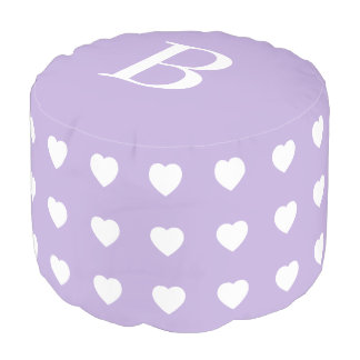 White Hearts on Cottage Lavender Monogram Pouf