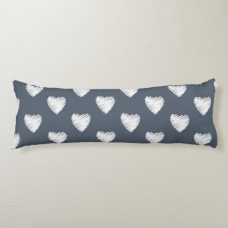 White Hearts on Navy Blue Body Pillow
