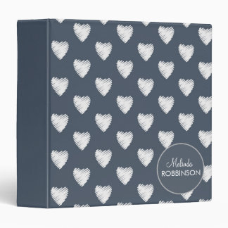 White Hearts on Navy Blue Custom Binder