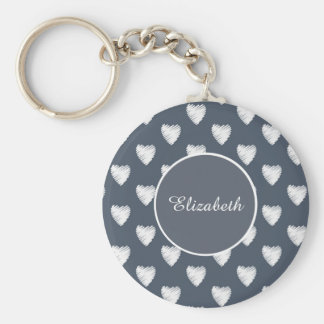 White Hearts on Navy Blue Monogram Keychain