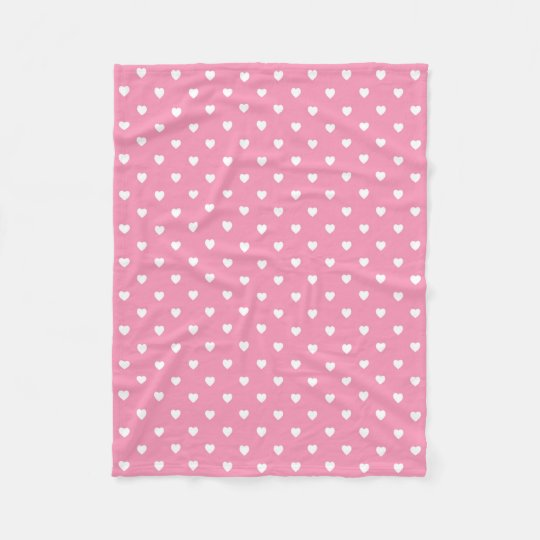 White Hearts on Pink Fleece Blanket