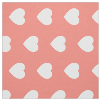 White Hearts on Pink Sand Fabric