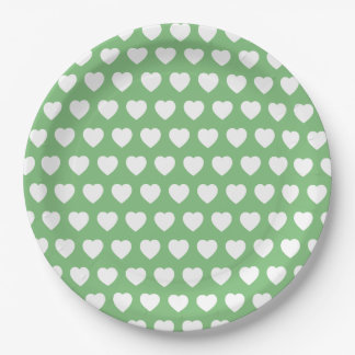 White Hearts on Vintage Green Paper Plate