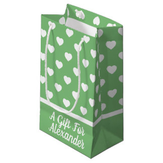 White Hearts on Vintage Green Personalized Small Gift Bag