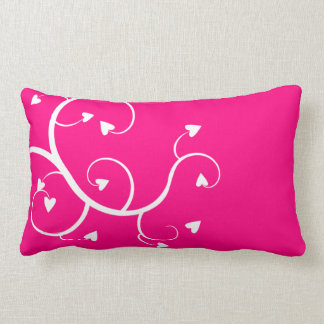 White hearts pink pillow