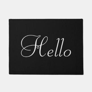 White Hello on Black Doormat
