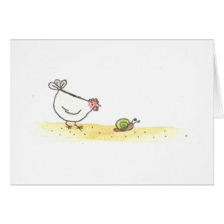 White Hen And Snail Card