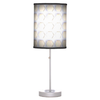 WHITE HEX WITH BLACK TRIM TABLE LAMP