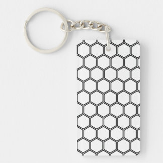 White Hexagon 3 Double-Sided Rectangular Acrylic Keychain