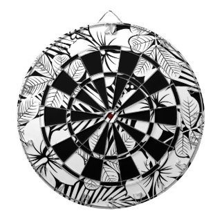 White hibiscus and palm leaves dartboard