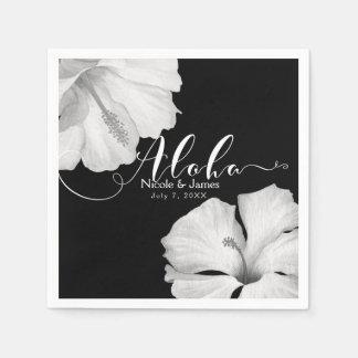 White Hibiscus Black Tropical Wedding Aloha Disposable Napkins