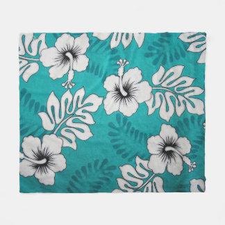 White Hibiscus Floral Pattern On Aqua Turquoise Fleece Blanket