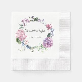 White hibiscus flower wedding paper napkins
