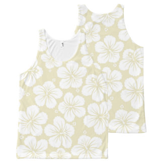 White Hibiscus Flowers All-Over-Print Tank Top