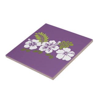 white hibiscus Hawaii Theme Ceramic Tile