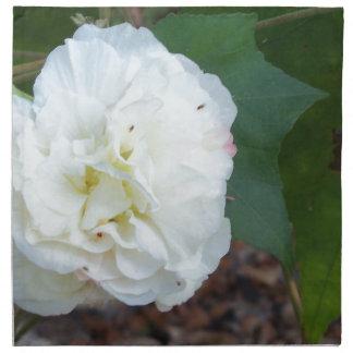 white hibiscus mutabilis flower napkin