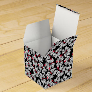 White hibiscus printed embroidery favor box