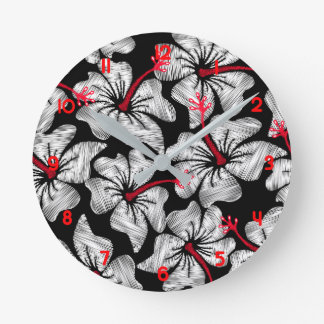 White hibiscus printed embroidery round clock