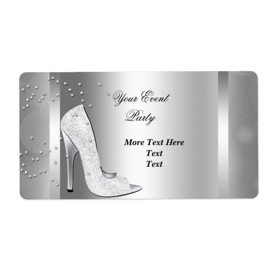White High Heel Shoes Silver Event Party Shipping Label