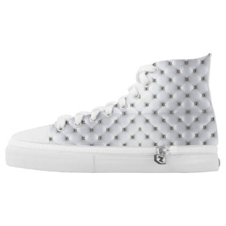 White high tops with small gold beads photo