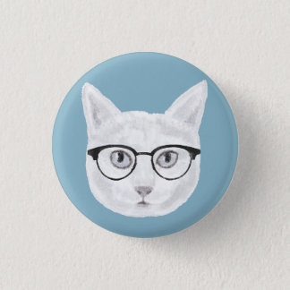 White Hipster Cat Wearing Glasses 1 Inch Round Button