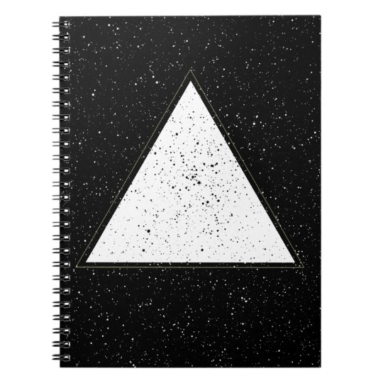 White hipster space triangle black background notebook