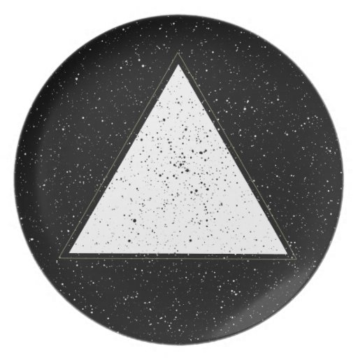 White hipster space triangle black background party plates ...