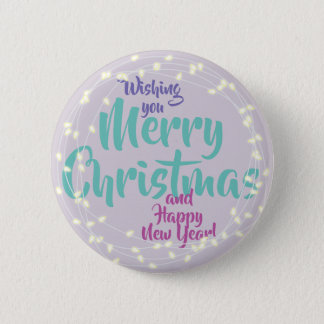 White Holiday Lights Greeting 2 Inch Round Button
