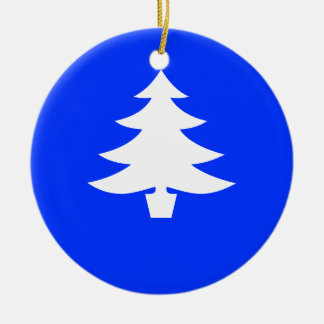 White Holiday Tree on Blue Background Ornament