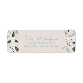 White Holly Botanical Happy Holidays Address Label