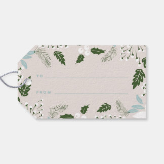 White Holly Botanical Happy Holidays Gift Tag