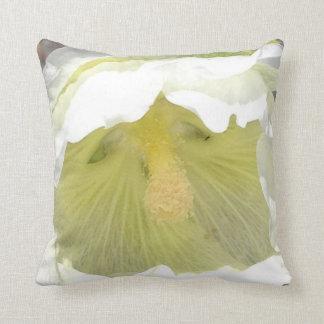 White hollyhock bloom throw pillow