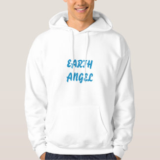 white hooded sweatshirt with text and wings design